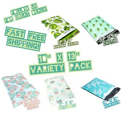 100 Poly Mailers 10x13 Mix Design Variety Pack 20 Ea