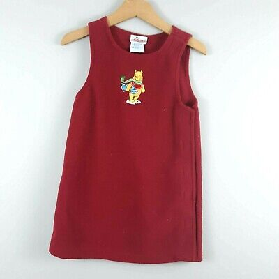 Disney Store Kid's Winnie the Pooh Ice Skating Jumper Dress Embroidered Size 4/5