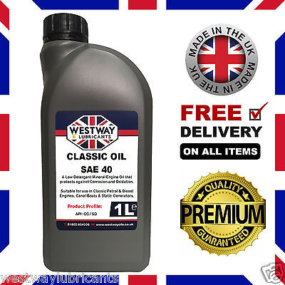 1L SAE 40 Classic Engine Oil Straight 40 Low Detergent Westway Lubricants