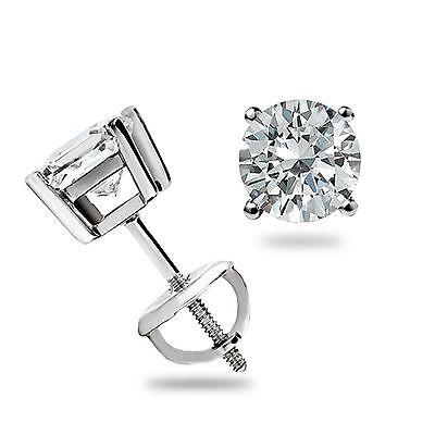 .45 Ct Round Cut Stud Earrings Basket set 14k White Gold Pierced Screw Back Gift