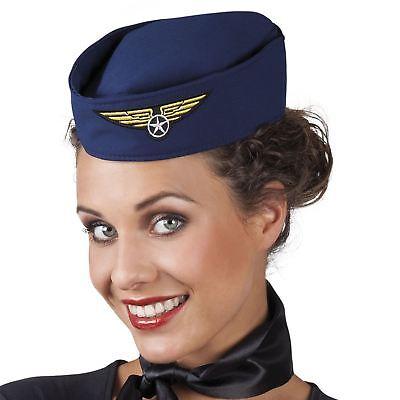 Ladies Mens Pilot Hat Cap Air Hostess Stewardess Hen Do Fancy Dress Costume](Pilot Costume Hat)