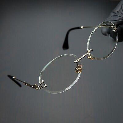 Round Cut Rimless Gold Frame Luxury Hip Hop Fashion Mens Clear Lens Glasses  Rimless Mens Lens