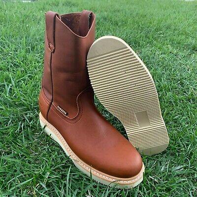 Men's Best Work Boots light W.Pull On Leather Brown oil slip resistant steel