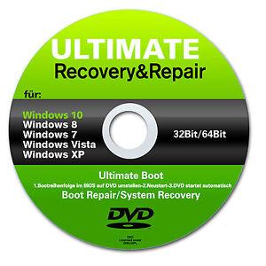 Recovery & Repair CD DVD für Windows 10 & 7 & 8 + Vista + XP Acer, HP, Lenovo