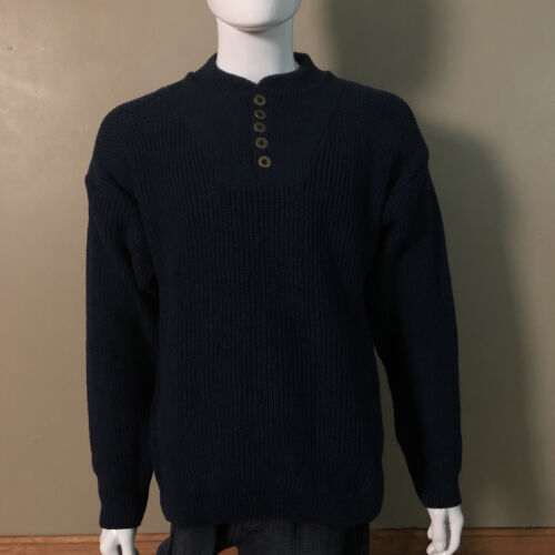 Eddie Bauer Cable Knit Sweater Classic Bivi 5 Button Pullover Sz L  Navy Blue