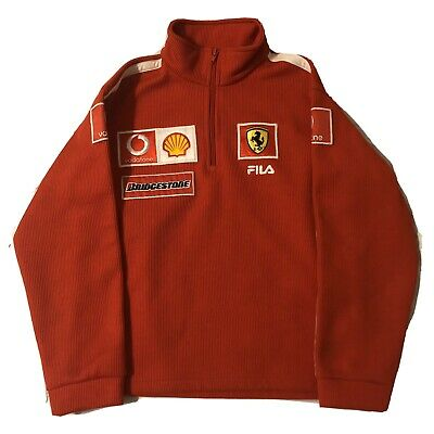 Ferrari Puma Racing Jacket Red Patches Spellout 1/4 Zip Jacket Bridgestone XS-S