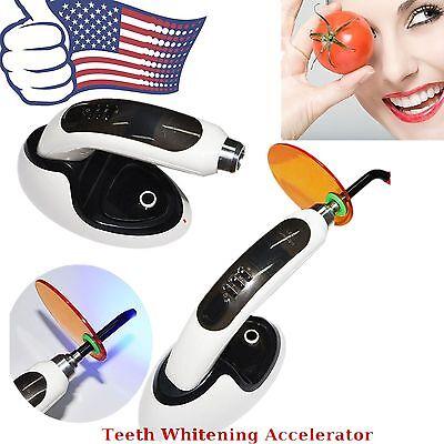 A 10W Wireless 1800MW LED Dental Curing Light +Teeth Whitening Accelerator Black