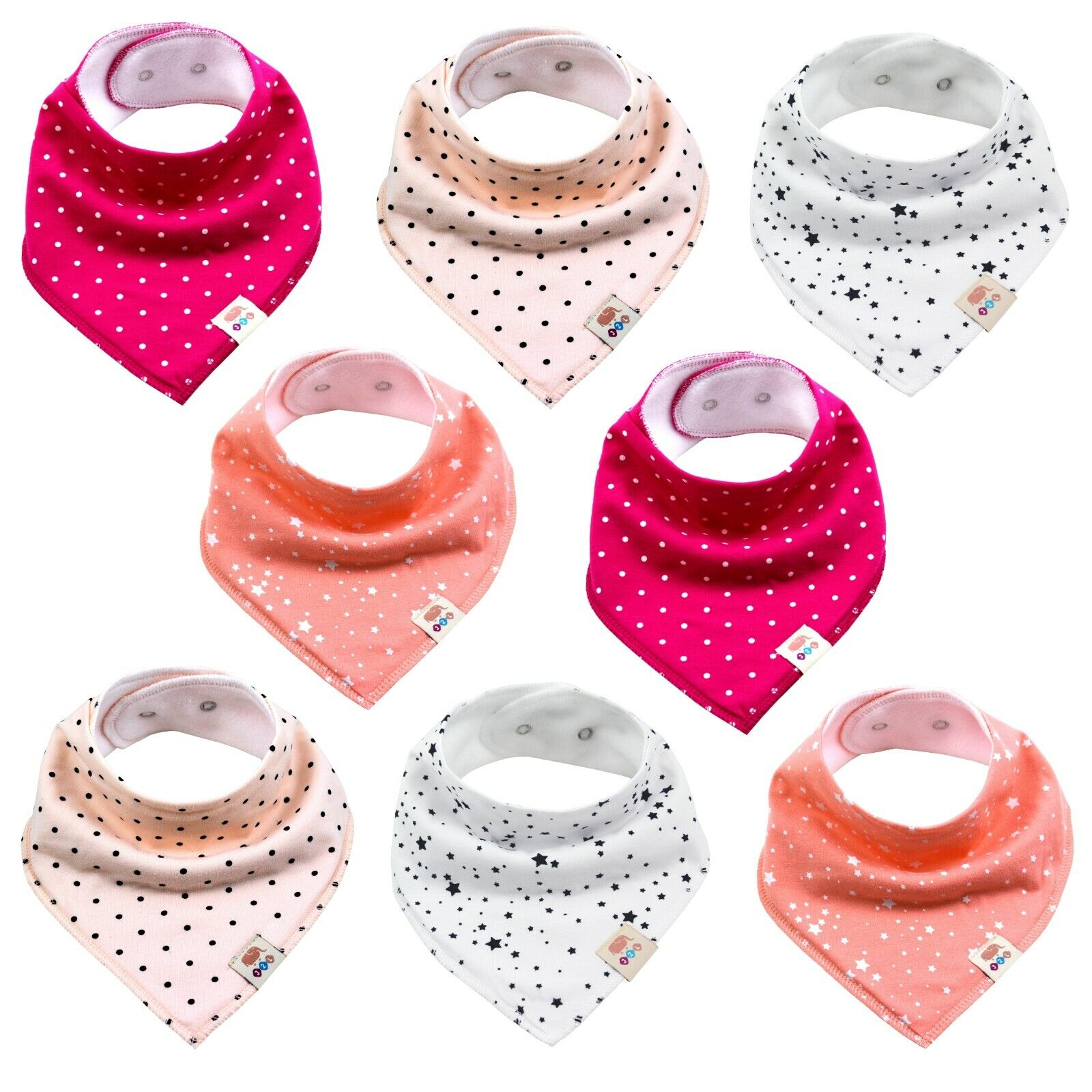8x Dreieckstücher Baby Lätzchen Sabberlatz Baumwolle Halstuch Spucktuch Mädchen