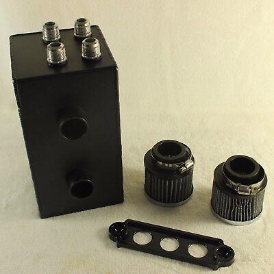 Baffled Oil Catch Can For Honda Civic Integra EK EG DC 2F All Black 4 Port  10A