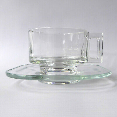 Joe Colombo Arno cup & saucer. Italian clear pressed glass square. Vintage Italy