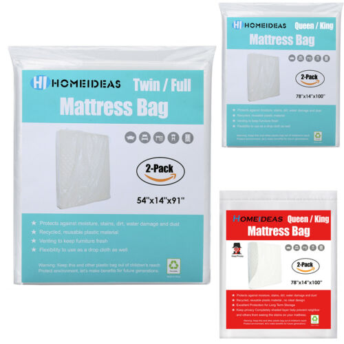 2Pack Extra Thick Mattress Bags Plastic Bed Covers Protector
