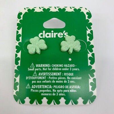 Claire's St Patricks Day Earrings Iridescent Glitter Shamrock Irish Clover - Glitter Shamrocks