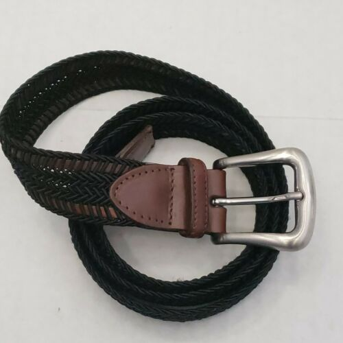 Torino Weave Braided Woven Mens Belt Black Brown Solid Brass Buckle USA 36
