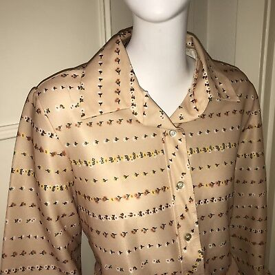 Vtg 60s 70s NPC Fashions Tan FLORAL Womens POLYESTER ugly DISCO Top shirt LARGE
