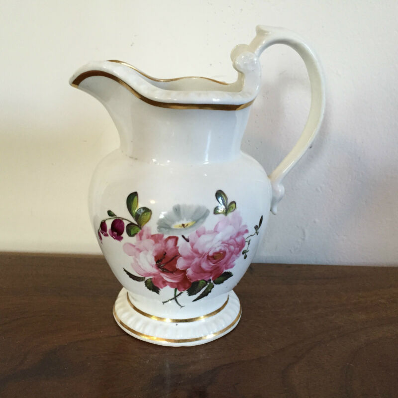 Antique Porcelain Pitcher 19th c. Empire Old Paris Tucker Flowers Monogrammed