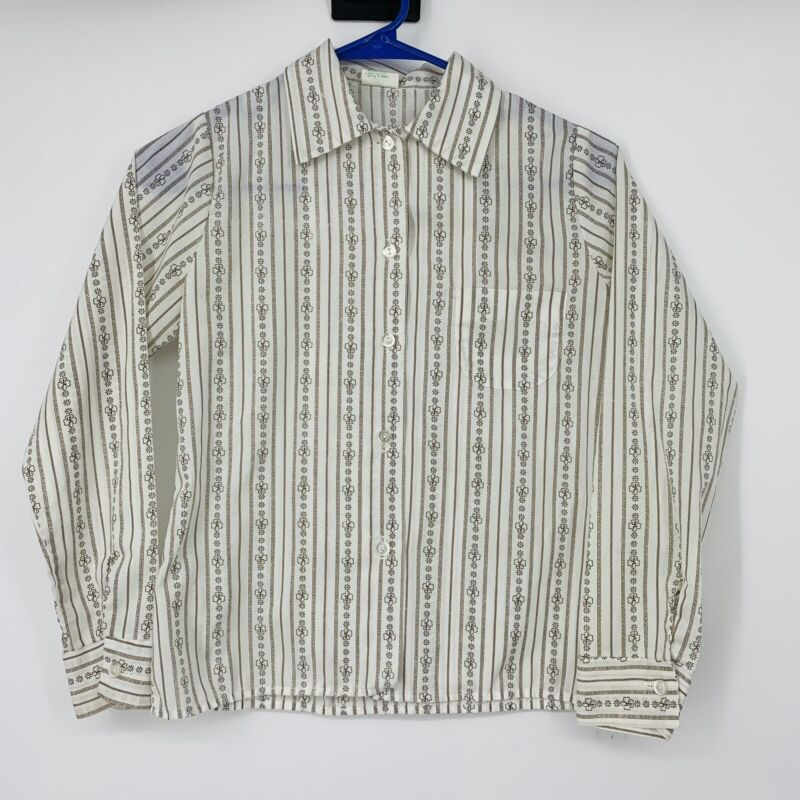 Vtg Brownies Girl Scouts Uniform Long Sleeve Button Shirt Size 12