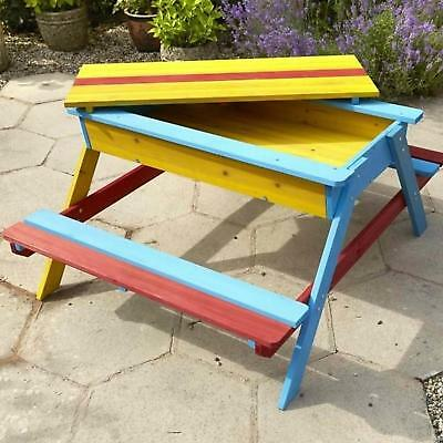 Childrens Wooden Sandpit and Multi-coloured Picnic BenchTable Sand Pit