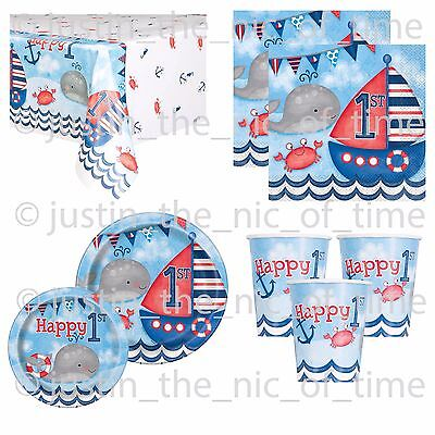 First Birthday Tableware (1st First Birthday Boys Blue Nautical Party Supplies Tableware)