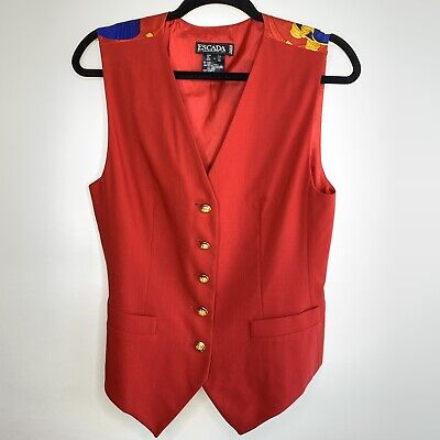 Escada Vintage Red Wool Silk Vest Red Print Back Sz 38 ()