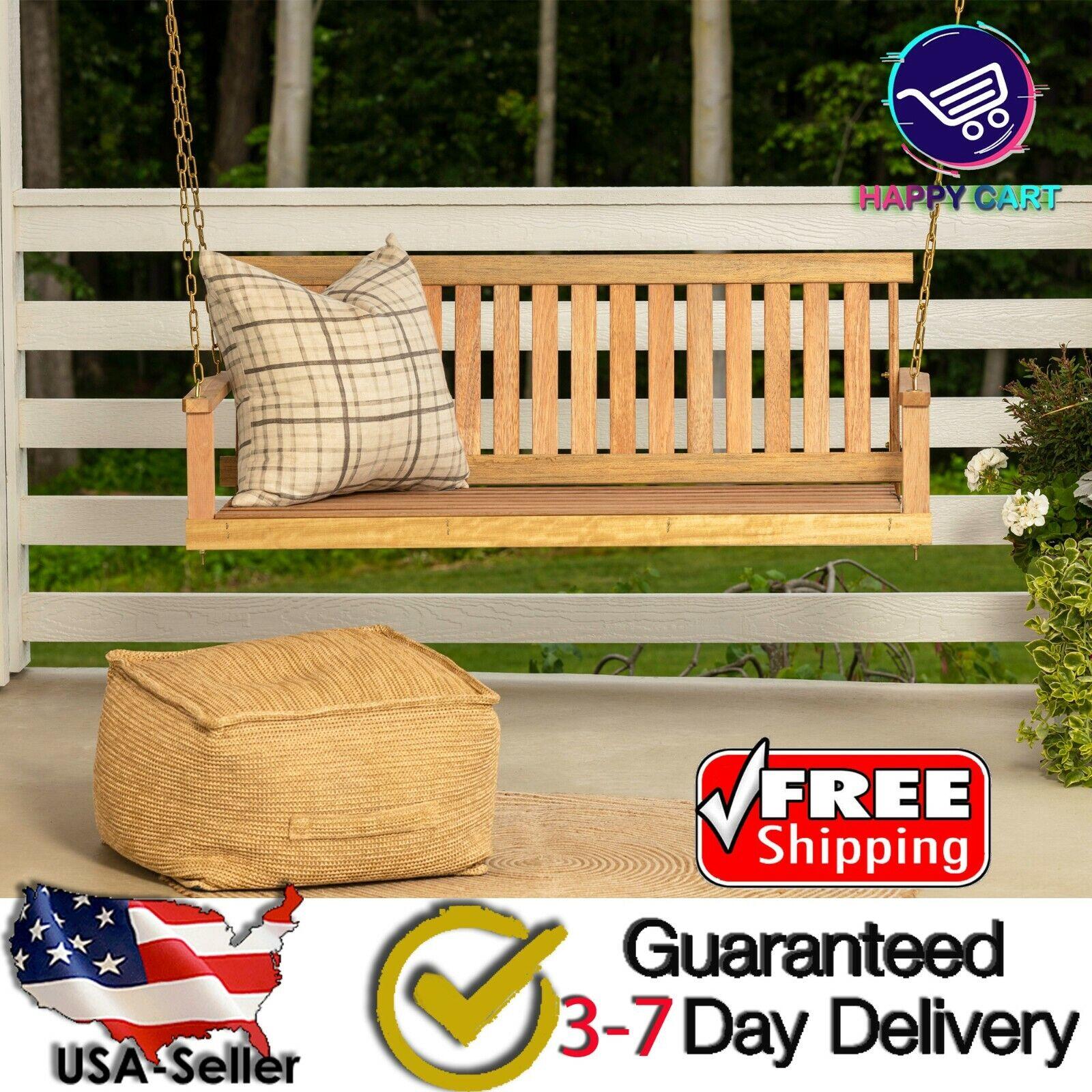 Wooden Porch Swing 4 Ft Natural Wood Patio Outdoor Yard Gard