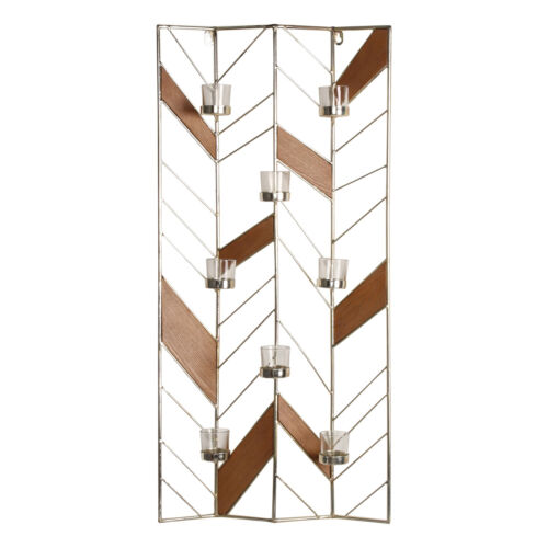 Elettra Metal and Wood Tea Light Wall Candle Holder Sconce b