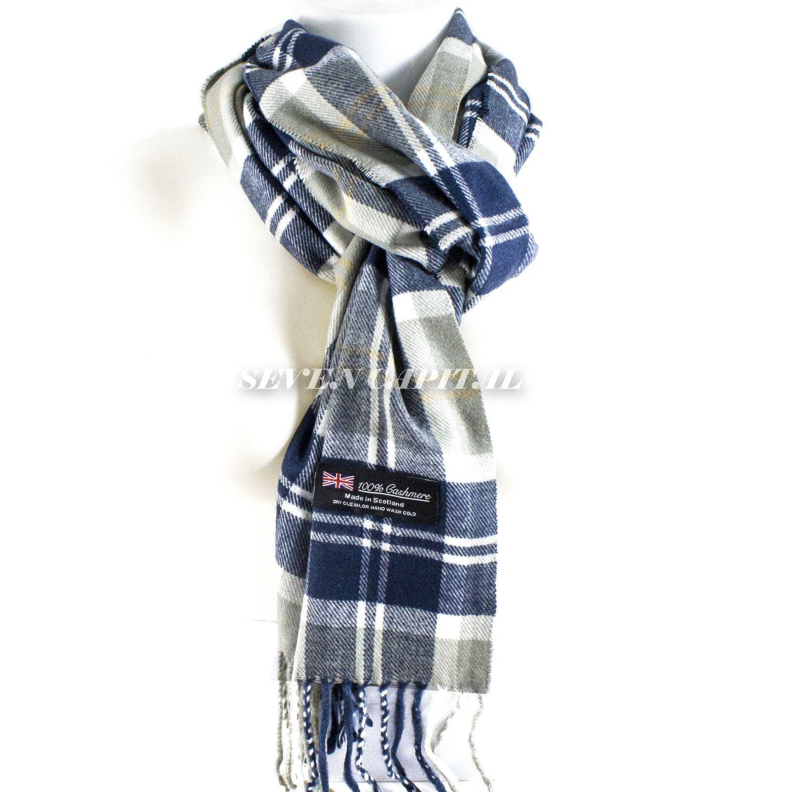 Mens Womens Winter Warm SCOTLAND Made 100% CASHMERE Scarf Scarves Plaid Wool 11. Plaid: White/Blue