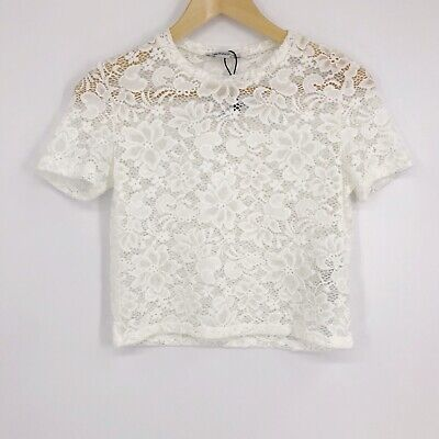 Zara Trafaluc Womens Short Sleeve Lace Cropped Top Stretch White Floral Sz S