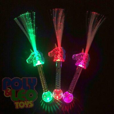 Light Up Flashing Fiber Optic Unicorn Wand Magic Princess Party Favors 12 Pcs](Fibre Optic Wands)