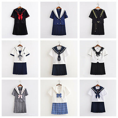 Japanese Women School Girl Sailor Uniform Set JK Short Sleeve Blouse Skirt 2PCS ()