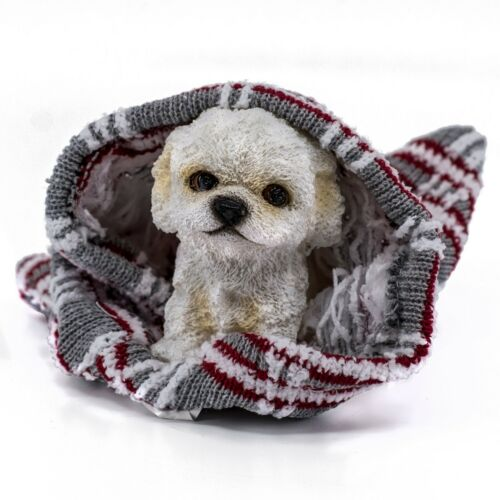 "White Maltese/Bichon Frise Type Puppy In Blanket Dog Figurine 3""H Resin New!"