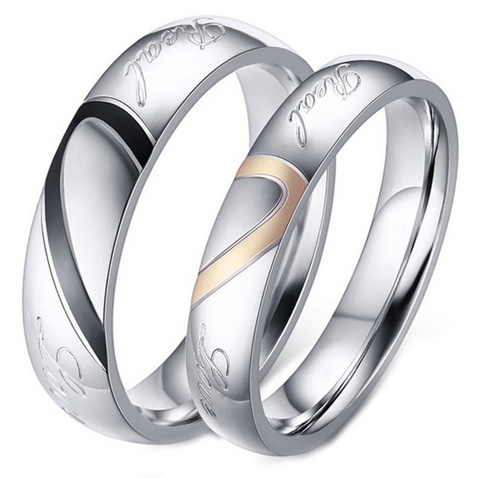 Couple's Matching Heart Ring, REAL Love His or Hers Wedding Band Promise Ring Fashion Jewelry