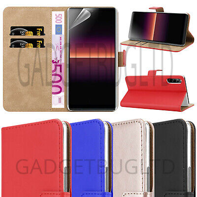CASE FOR SONY XPERIA L4 REAL GENUINE LEATHER COVER WALLET FLIP MAGNETIC