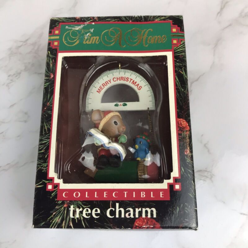 Trim A Home Tree Charm Ornament Merry Christmas Teacher Mouse 1992 Collectible