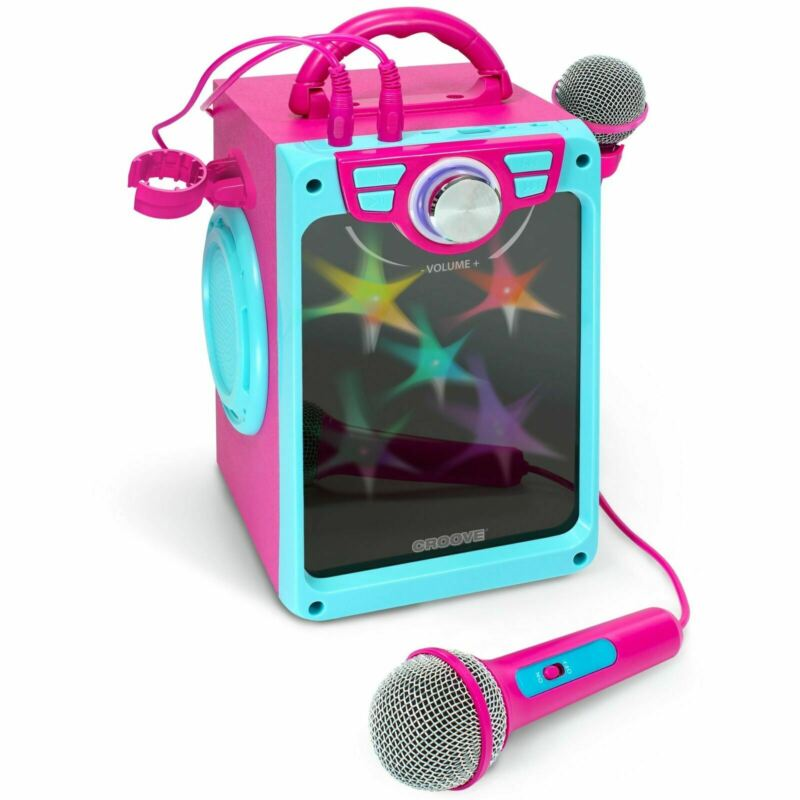POP BOX Karaoke Machine for Kids with 2 Mics & Flashing Disco Lights (Pink)