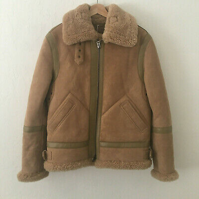 ACNE STUDIOS Ian Suede Leather Shearling Aviator Jacket Size 44 Beige $2600 NEW