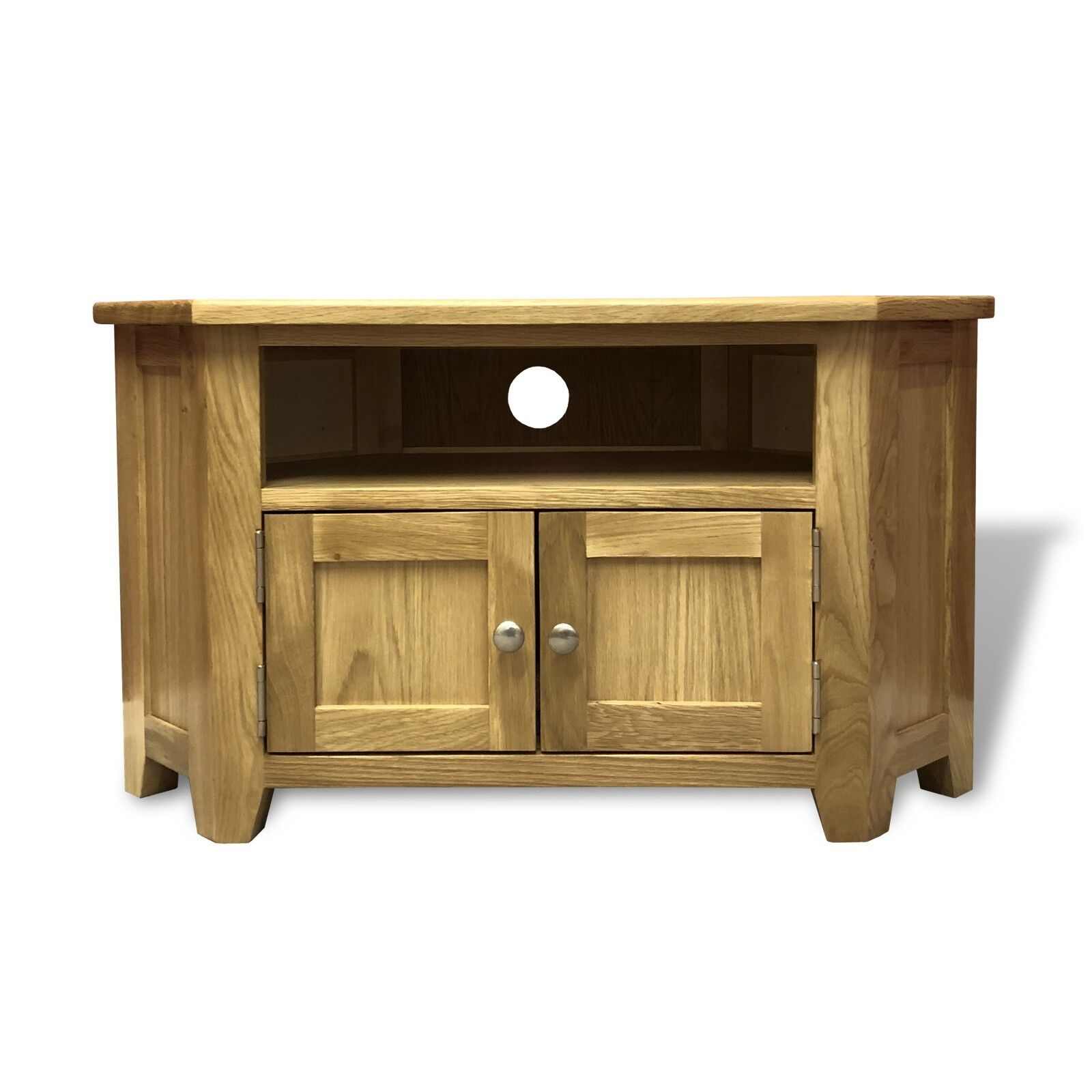Oak Corner TV Stand With Doors / Solid Wood Television