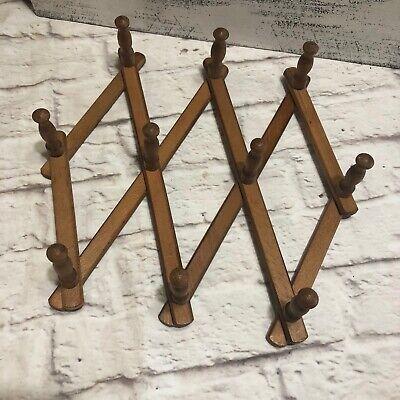 Vintage Wood Accordian Peg Wall Rack Hook Hanger Hats Mugs 10 Hooks Mid Century