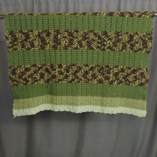 Green Camouflage Crochet Afghan Blanket 50 x 46 Sage Olive Hunter Military