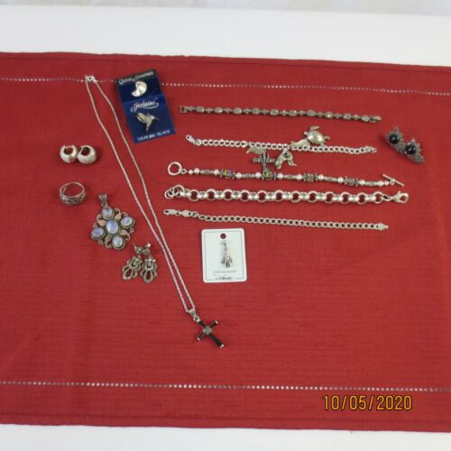 Sterling silver  925 Jewelry lot 14, charm bracelets, ring, necklaces marcasite