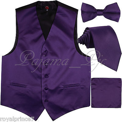 Deep Purple New Men's Suit Vest Waistcoat and Neck tie, Bow Tie & Hanky Wedding - Vest Bow Tie