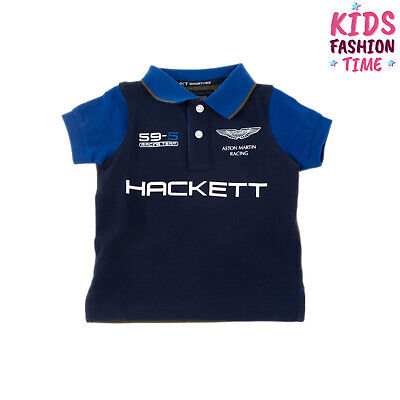 ASTON MARTIN RACING By HACKETT Polo Shirt Size 2Y Pique Cotton Coated Logo Front
