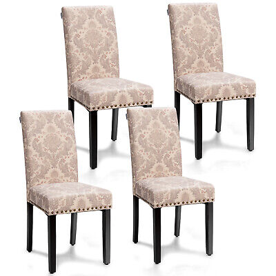 Costway Set of 4 Fabric Dining Chairs Upholstered Nailhead Trim Seat  Wood Legs