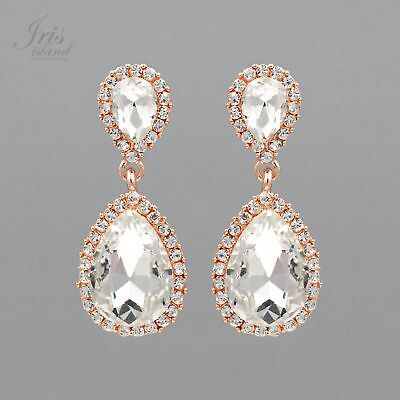 ROSE GOLD Plated Clear Crystal Rhinestone Wedding Bridal Drop Dangle Earrings 45