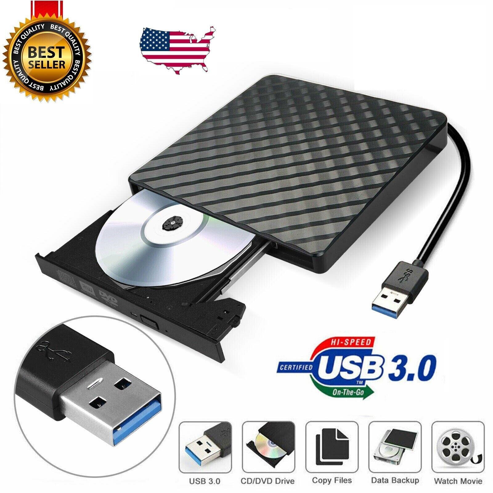 Slim External 8X USB 3.0 DVD RW CD Writer Drive Burner Reade