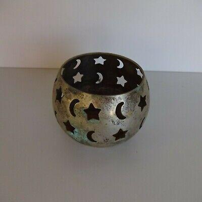 Tea Light Holder Brass With Stars And Moon