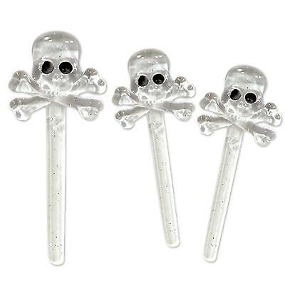 Halloween Clear Skull & Bone Festive Cupcake Appetizer Toppers Picks Party Decor