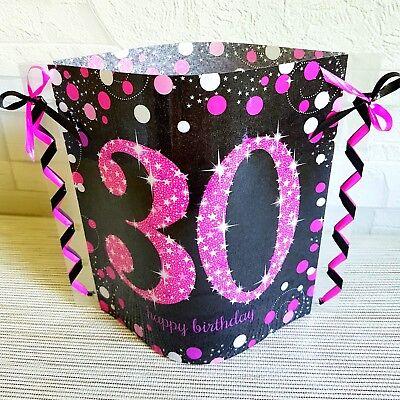 Tischdeko-Windlicht aus Servietten-30.GEBURTSTAG-Happy Birthday- pink/schwarz