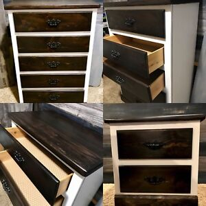 Solid wood refinished dresser and end table