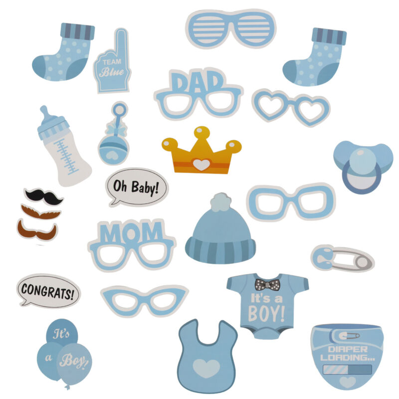 25pcs Baby Shower Little Boys Photo Booth Props Mister New Born Party Decoration