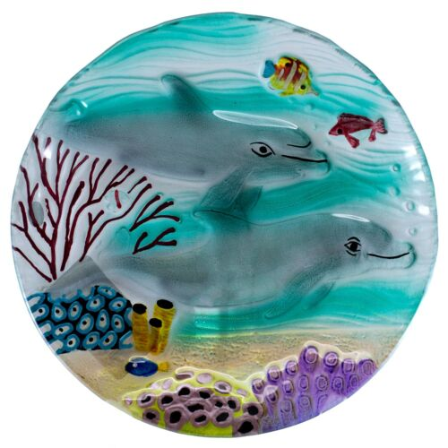 "Handcrafted Fused Glass Dolphins With Fish Plate 8"" New! Decorative & Food Safe"